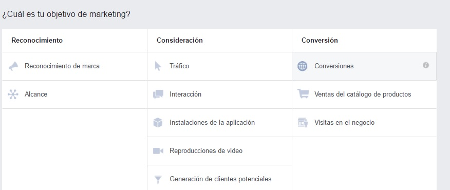 objetivos de publicidad de facebook