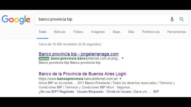 banco provincia phishing